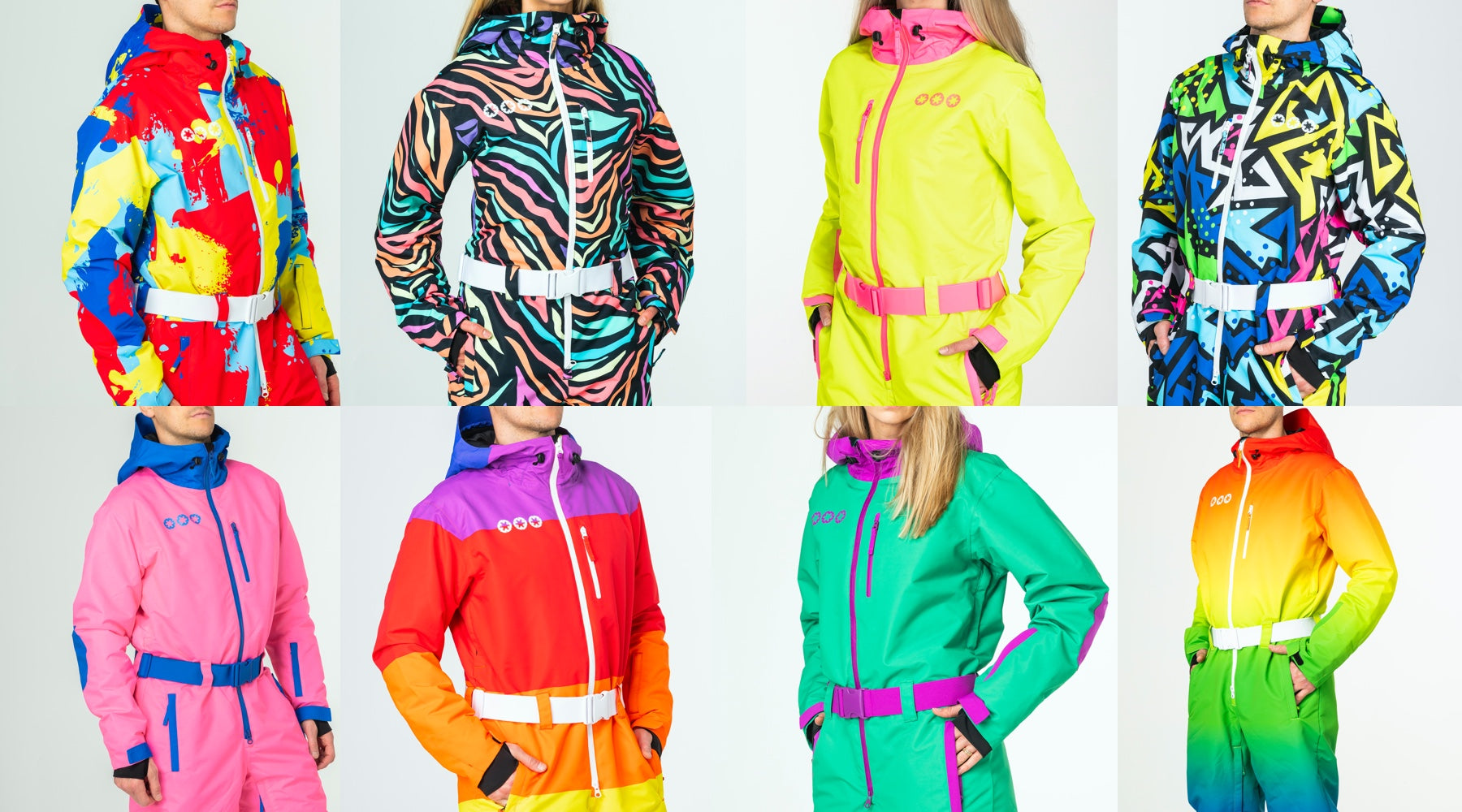 Willyfinder all in one ski suits, eight front on images of all in one ski suit ones. These could otherwise be call snow suits for men and women. Bright colours.