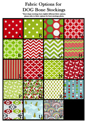 Fabric options for personalized dog Christmas stockings