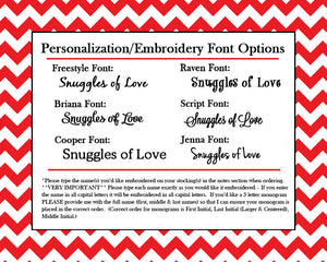 Embroidery font options for red and green Christmas stockings