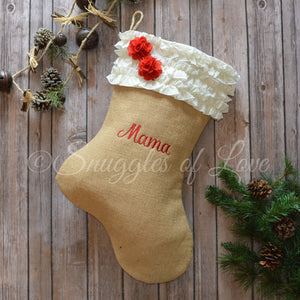 Personalized burlap Christmas stocking with cream ruffles and red burlap flowers