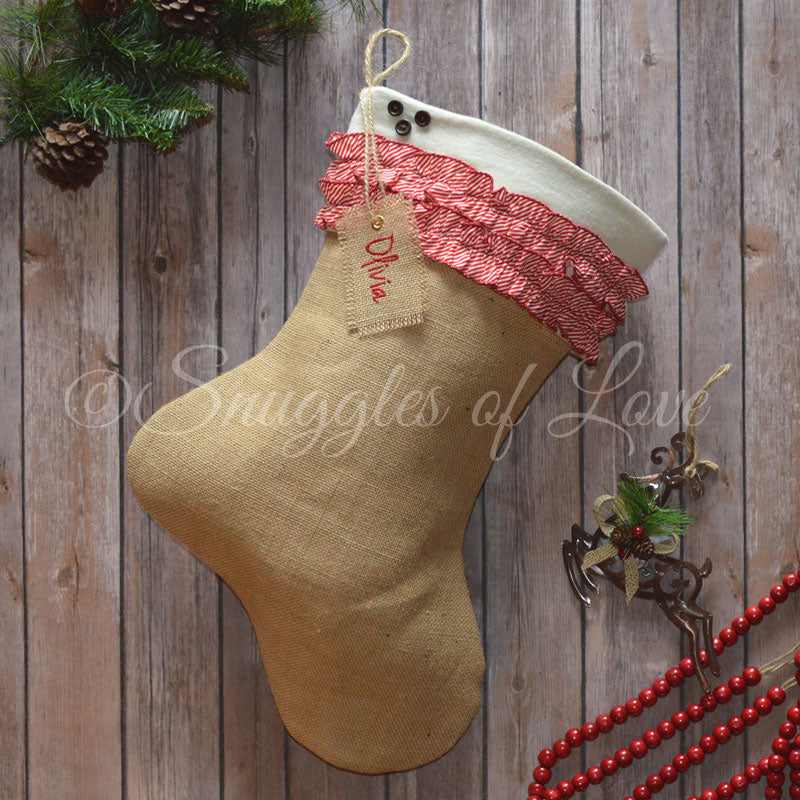 Chevron ruffle personalized burlap stocking with wooden buttons and monogrammed tag