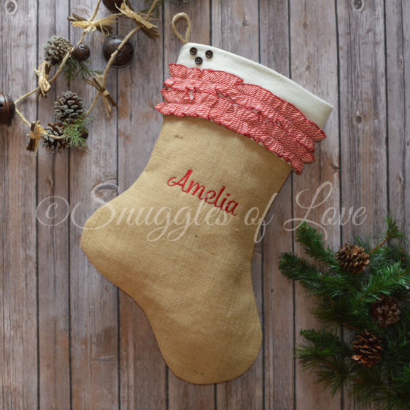 Personalized burlap stocking with red and white pinstripe ruffles and button detail