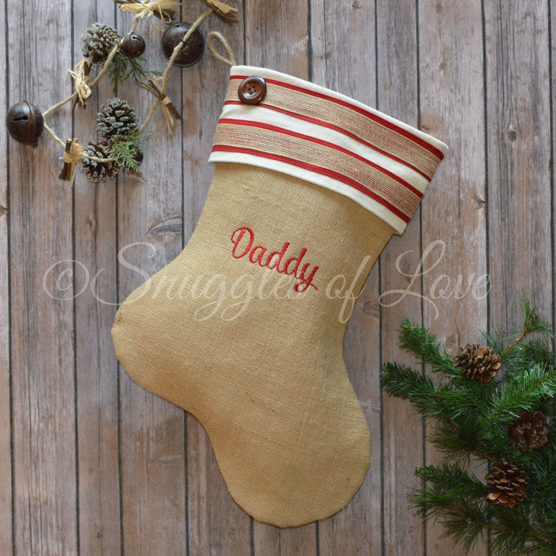 Red and cream personalized burlap Christmas stocking with stripes and button