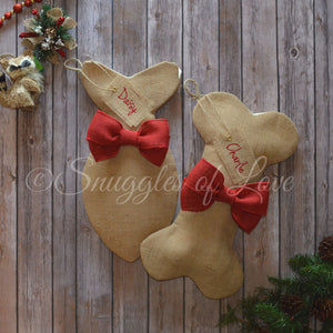 Personalized burlap dog and cat stockings with red burlap bows