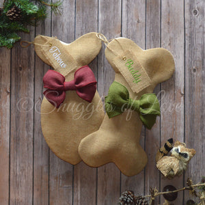 Personalized burlap dog and cat stockings with burgundy and moss green bows