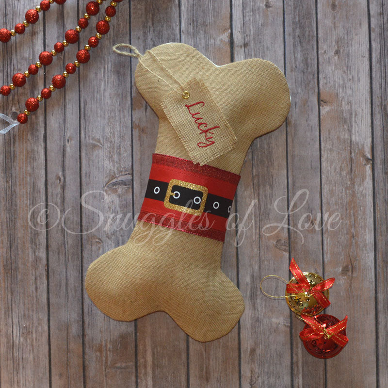 Burlap Santa dog Christmas stocking with monogrammed tag