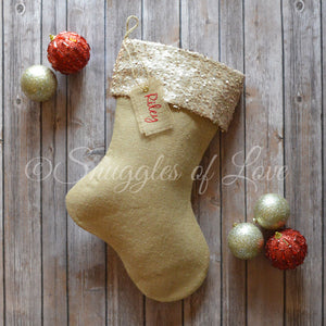 Personalized burlap Christmas stockings with champagne sequin cuff