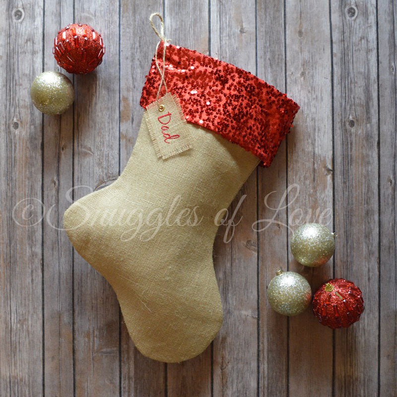 Burlap Christmas stocking with red sequins and embroidered name tag
