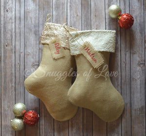 Tan burlap sequin Christmas stockings with cream sequin and champagne sequin cuffs