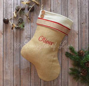 Red and cream natural burlap/jute personalized Christmas stocking with buttons