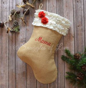 Natural burlap Christmas stocking with embroidered name and cream ruffle stocking cuff