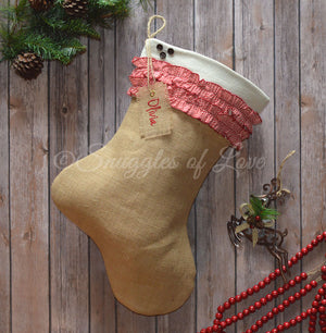 Burlap jute Christmas stocking with red chevron ruffles and monogrammed name tag