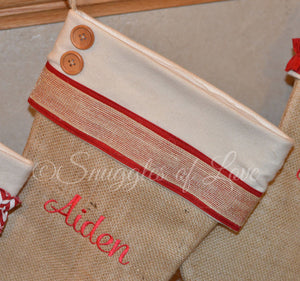 Monogrammed burlap Christmas stocking with red and cream stocking cuff and red embroidery