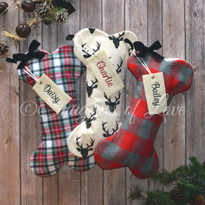 Red, green and grey plaid and deer buck dog Christmas stockings