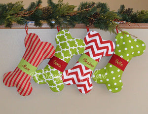 Monogrammed red and green dog bone Christmas stockings