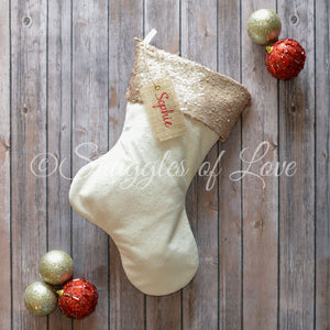 Cream velvet sequin stocking with champagne sequins and monogrammed name tag