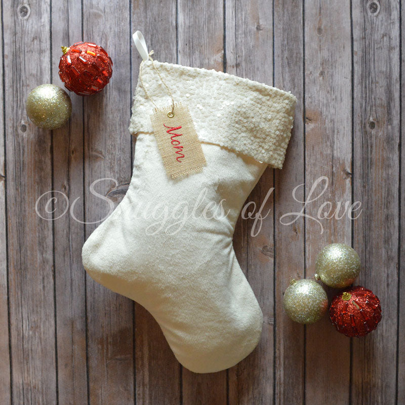Sequin Christmas stocking, ivory velvet fabric with ivory sequins cuff