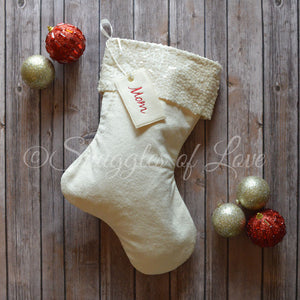 Cream velvet sequin Christmas stocking with name tag and sequin cuff