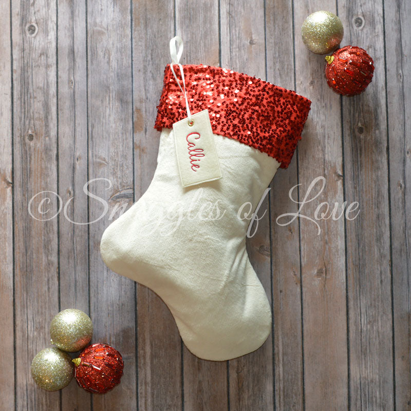 Red sequin Christmas stocking with cream velvet and red sequin cuff