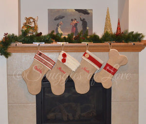 Monogrammed burlap Christmas stocking set with dog bone stocking