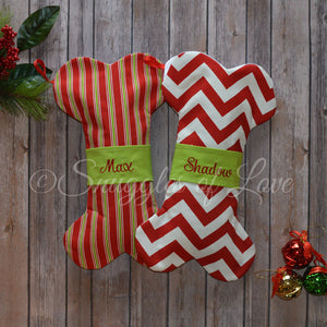 Personalized red chevron and red stripe dog Christmas stockings