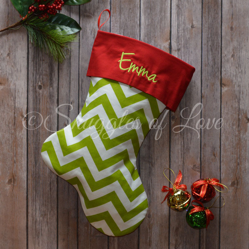 Personalized green chevron Christmas stocking