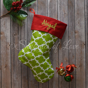 Monogrammed green quatrefoil Christmas stocking