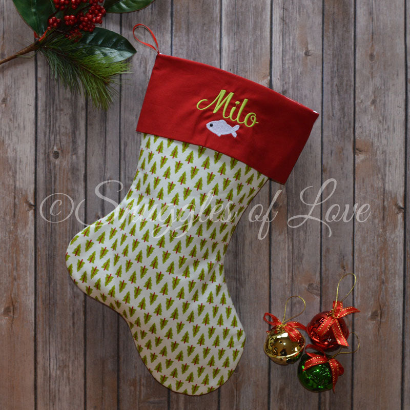 Personalized red and green Christmas stockings with different fabrics