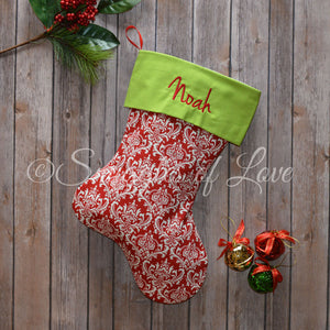 Red and white damask personalized embroidered Christmas stocking