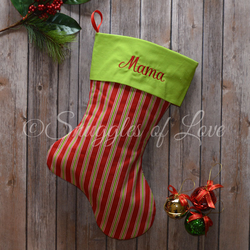 Personalized red and green striped Christmas stocking