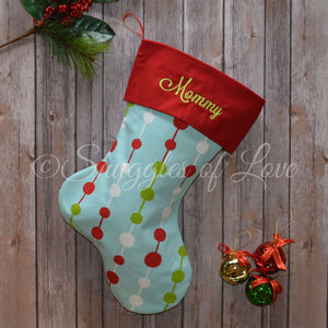 Personalized blue, red and green Christmas stocking with tinsel beads