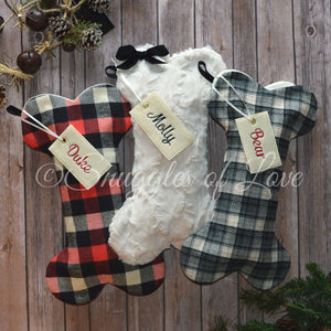 Flannel plaid and fur dog bone stockings with monogrammed name tags