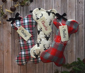 Personalized rustic flannel, plaid, check and buck dog Christmas stockings