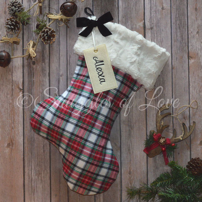 Personalized red, green and white plaid Christmas stocking with fur cuff
