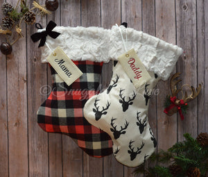 Buffalo plaid Christmas stocking and deer Christmas stocking