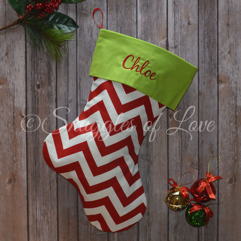 Personalized red and white chevron Christmas stocking