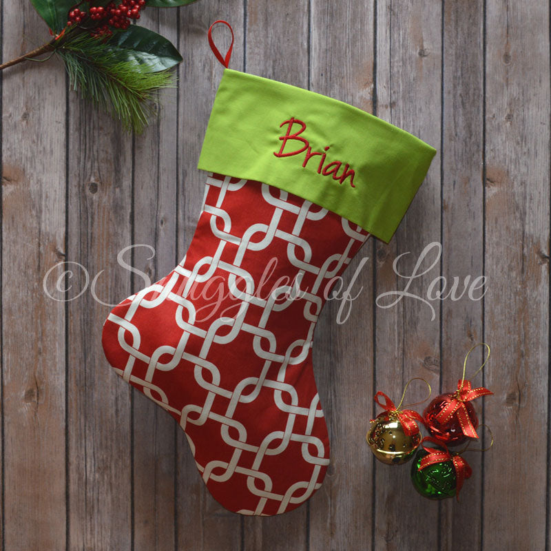 Red, white and green embroidered Christmas stocking