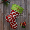 Personalized embroidered red and white quatrefoil Christmas stocking