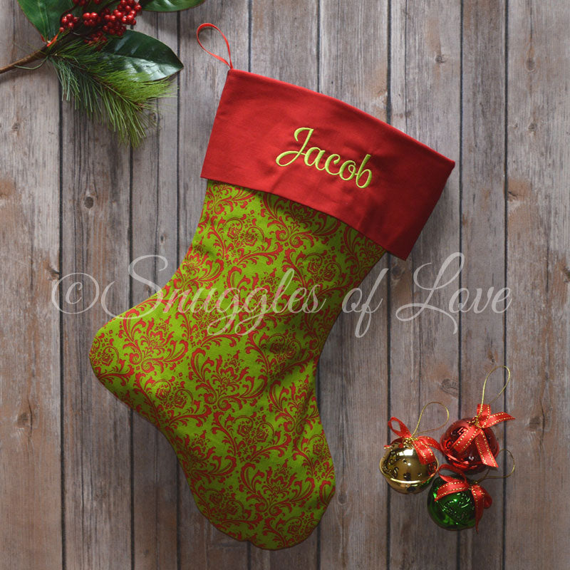 Red and green damask print personalized Christmas stocking