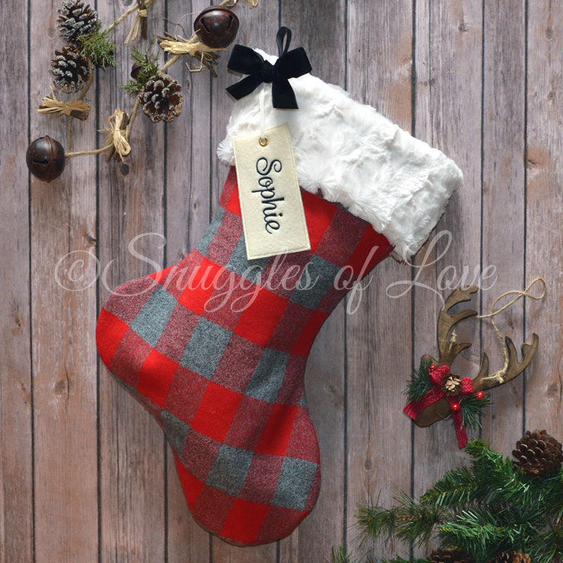 Personalized red and grey plaid flannel Christmas stocking with fur cuff