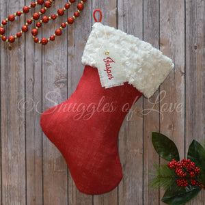 Red burlap Christmas stocking with ivory minky fur cuff and name tag
