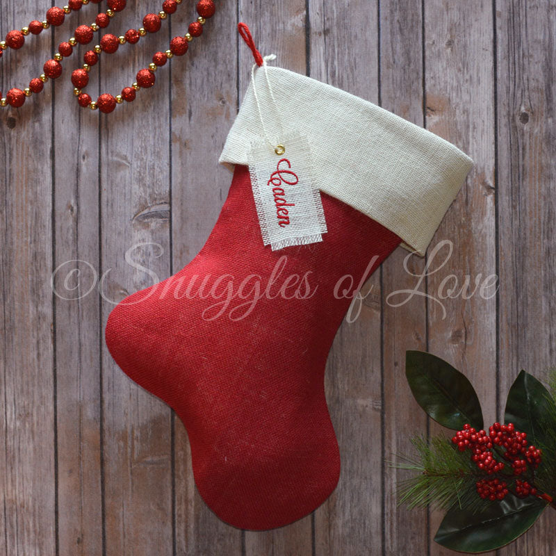 Set of 5 red burlap personalized Christmas stockings with hanging tags