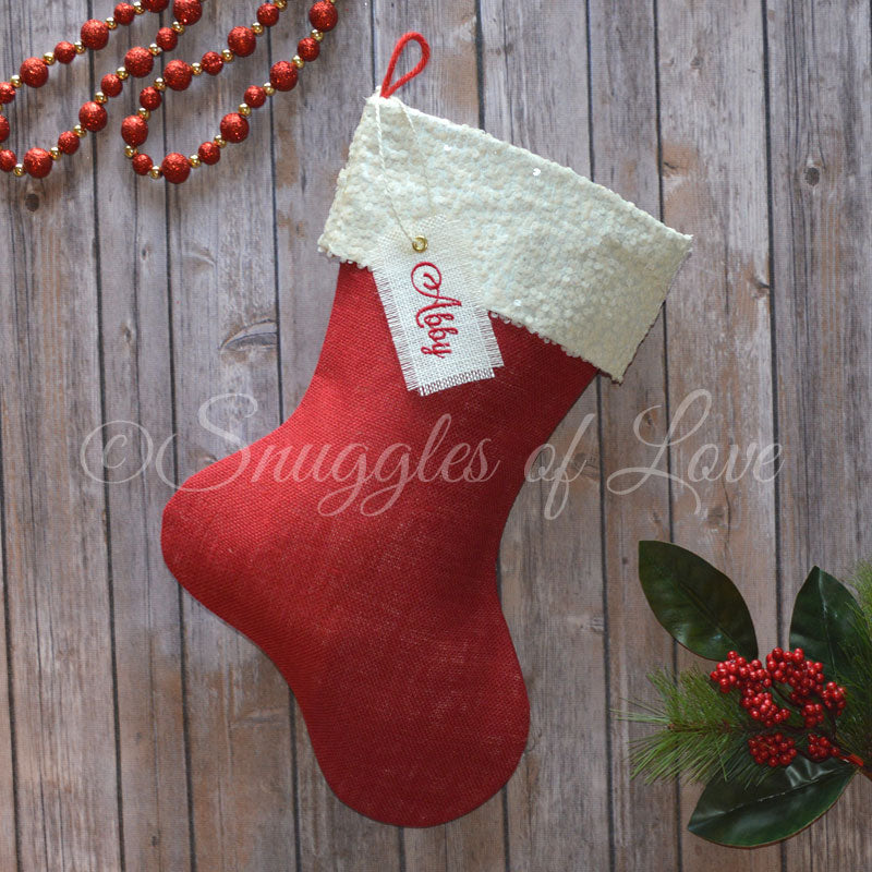 Personalized red and ivory sequin Christmas stocking