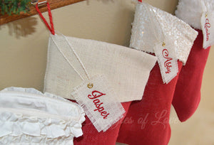 Red and ivory personalized Christmas stockings