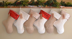 Personalized sequin Christmas Stockings, burlap and velvet with sequin cuffs