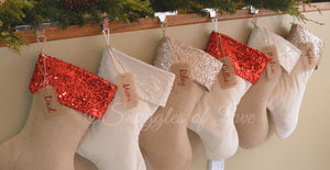 Burlap and velvet sequin Christmas stockings with name tags
