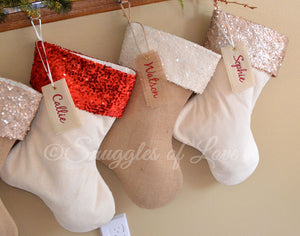 Personalized sequin Christmas stocking set with name tags