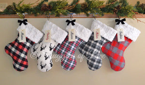 Personalized rustic flannel, plaid, check and buck Christmas stockings