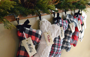 Rustic plaid dog bone Christmas stockings
