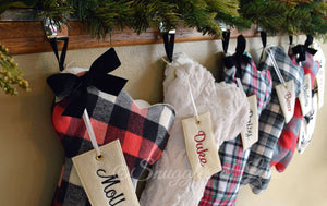 Personalized plaid, fur and deer print dog bone shaped Christmas stockings